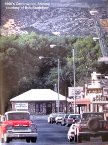 1960's Bob Bradshaw photo of Old Town Jail in background with the Tuzigoot National Monument (Indian Ruins) above...