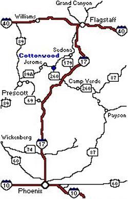 Map Of Arizona Including Jerome.Cottonwood Hotel Driving Directions Arizona Maps